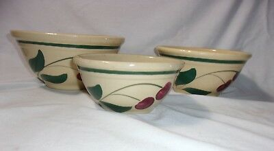 "Early Vintage 1 Wattware & 2 Oven Ware Stoneware Mixing Bowls 6"" 7"" & 8"" Antique"