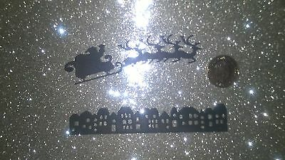 santa/sleigh & skyline silhouette die cut shapes x 20 pieces (black card)