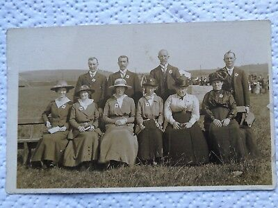 Temperance Society Group at Ettrick Bay - Rothesay - Bute - B/W RP - Unposted