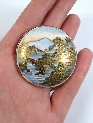 19th C Japanese Satsuma porcelain hand painted brooch silver mount- Shimazu Clan