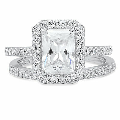 2.12 Emerald Anniversary Engagement Solitaire Pave Ring Band set 14k White Gold