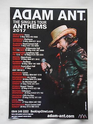 """ADAM ANT Live in Concert """"The Singles - Anthems Tour"""" UK 2017 Promotional flyer"""