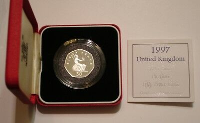 1997 PIEDFORT Silver Fifty Pence of Great Britain GEM PROOF in Box with COA