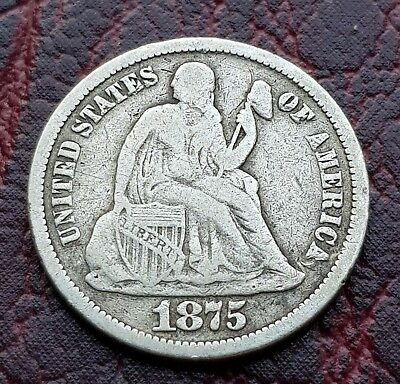 (D42) United States 1875 Silver Seated Liberty Dime Coin