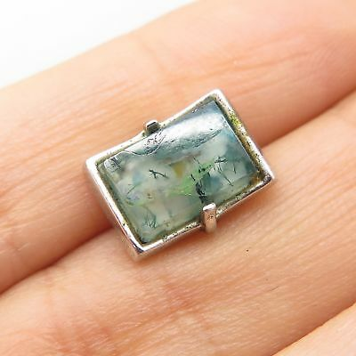 Vintage Signed 925 Sterling Silver Real Rutilated Quartz Gemstone Pin
