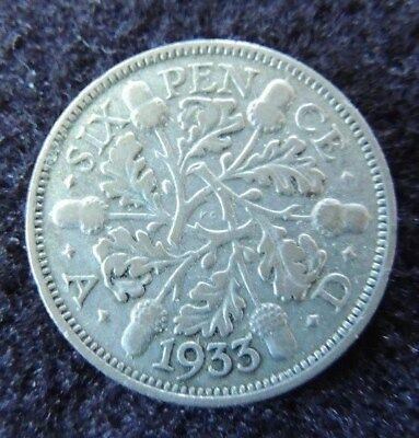 GREAT  BRITIAN     1933     SILVER       6 Pence         Think  CHRISTMAS