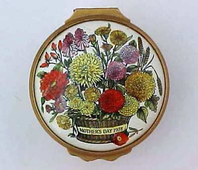 Bilston Battersea Enamels Patch Box Halcyon Days Mothers Day 1978
