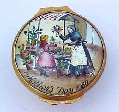 Bilston & Battersea Enamels Halcyon Days Mothers Day 1980 Patch Box