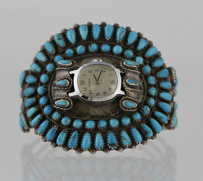 Indian Native American Sterling Silver Turquoise Cluster Cuff Bracelet Watch