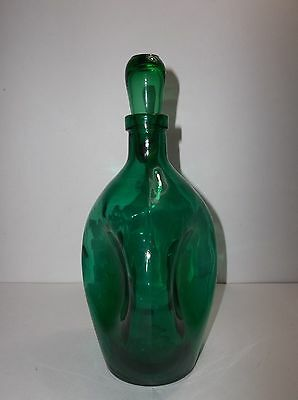 Vintage Swedish Art Glass GREEN Pinched Decanter