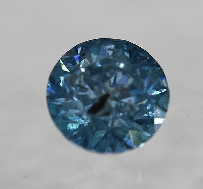 Cert 0.53 Ct Fancy Sky Blue Round Brilliant Enhanced Natural Diamond 5.12mm 3VG