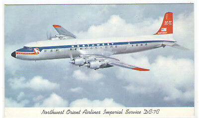 FMRA NORTHWEST ORIENT AIRLINES IMPERIAL SERVICE DC-7C AIRPLANE POSTCARD sg708