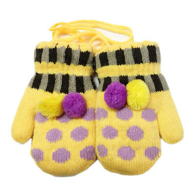 Yellow Polka Dot Mittens Baby Mittens on String 6m -3years