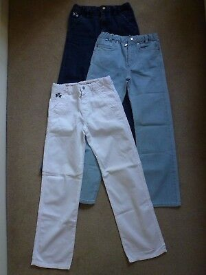 3 Pairs Of GRIGIOPERLA Boys Straight Leg Jeans/Trousers In Blue/White Age 12