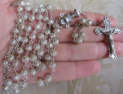 Lovely Vintage Piercework Rosary Beads Christianity Religion Prayer Silver(6681)