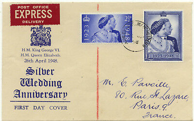 1948 Silver Wedding FDC Ashley Lane Manchester CDS