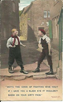 2 Young Boys Fighting In Street (Colour Printed Postcard) 1910