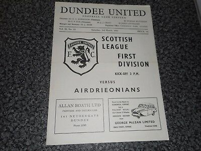 DUNDEE UNITED  v  AIRDRIE - AIRDRIEONIANS  1961/2   SCOTLAND  ~ MARCH 3rd