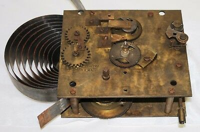 Antique Gledhill Brook Clock Movement + Dial Hands Mounting Bracket & Key c1937