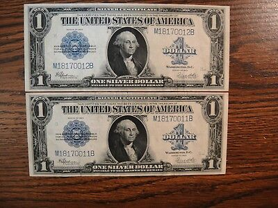 Pair (2) 1923 US $1 Large Silver Certificates. Consecutive Numbers. Extra Fine.