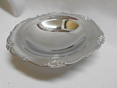 vintage 3 footed Japan chrome andy nut bonbon bowl / tray with tiny rose trim