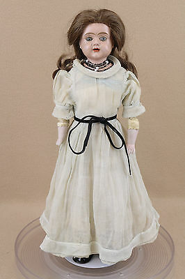 "16"" antique German PATENT tin metal shoulder head doll w glass eyes"