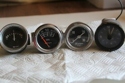 Job Lot of Gauges - Siran Oil Pressure & Vac, Yazaki Amps, Clock