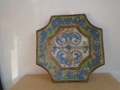 vintage/antique painted earthenware dish marked PAINTOGRAPHY JM 5490  WOW LOOK