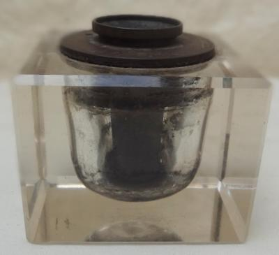 Antique Glass  INKWELL The Davis Automatic Inkstand - Pat Feb 14th 1893 New York
