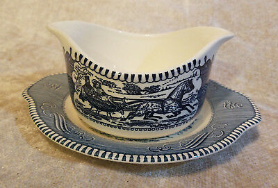 Vintage Royal Curier & Ives Blue China Gravy Boat with Underplate