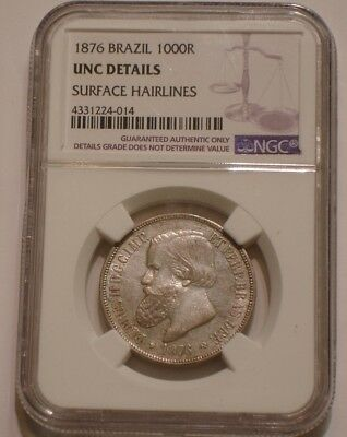 1876 Silver 1000 reis of Brazil NGC UNC Details