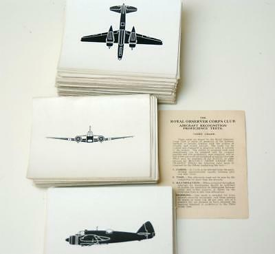 Wwii Aircraft Recognition Complete Set 195 Cards Observer Proficiency Grade 3