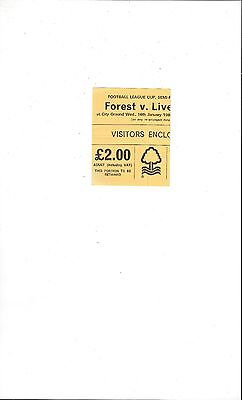 Nottingham Forest v Liverpool League Cup Semi Final Match Ticket Stub 1979/80