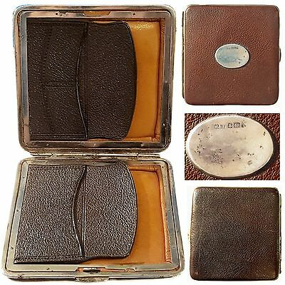 Antique English Silver & Leather Wallet Coin Purse Stamp Card Case Hallmark 1908