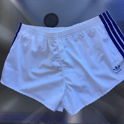 Vintage 1980's Adidas Shorts XL 40-42 Tennis Short 1990's White And Blue Tag