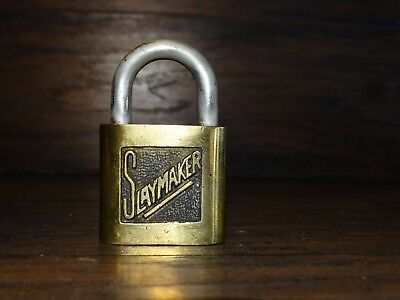 19804 Vintage SLAYMAKER Brass Padlock ~ Antique Pad Lock  /  No Key
