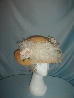 Antique Hat 1890 Straw Rose and Feather Trim