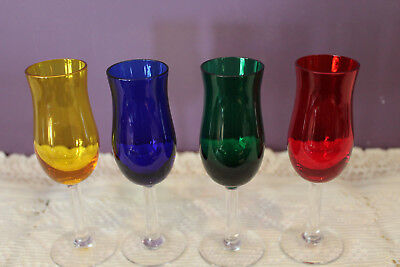 Set Of 4 Multi Colored Aperitif Cordial Glasses With Clear Stem