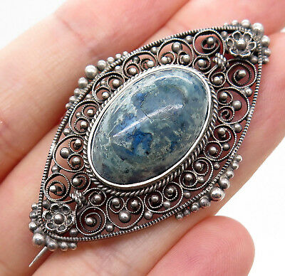Antique Victorian Sterling Silver Lapis Gemstone Openwork Filigree Pin Brooch