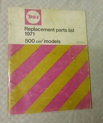 BSA B50 1971 Genuine Parts list not a copy  500cm3 Victor Trail MX Gold Star