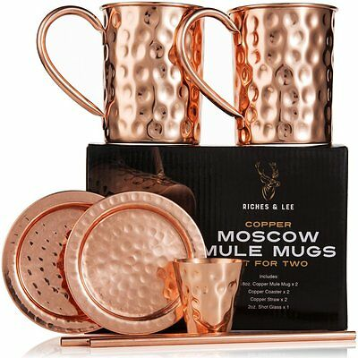 Moscow Mule Copper Mugs:Set of Two-Includes 2x18oz Mugs,2xCoasters2xStraws