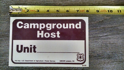 Forest Service Sign Campground Host 8''x5""