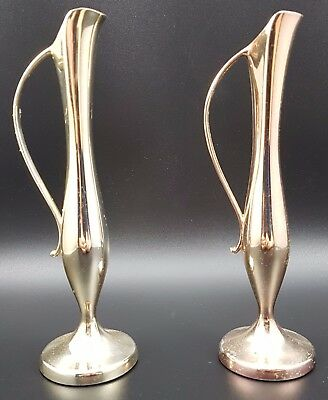 Pair of Vintage Silver Plated Bud Vases, Approx 18.5cm Tall