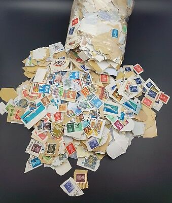 GB Mixed Used Stamps On Paper, 100g Taken Randomly From Large Bag Of Kiloware