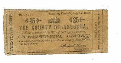 USA VIrginia County of Augusta 25 Cents 1862