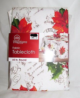 "Poinsettia Christmas Party Decor Fabric Tablecloth Table Cloth Cover 60"" Round"
