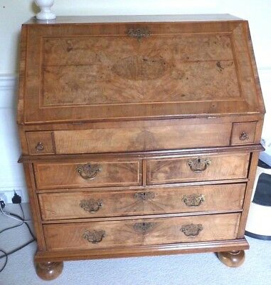 William & Mary C.1690 Antique drop front Walnut Bureau many hidden compartments