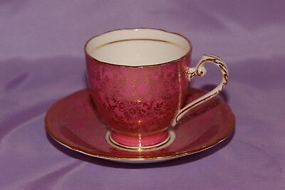 Pink Royal Grafton Gold Floral Chintz Bone China Coffee Cup Teacup & Saucer
