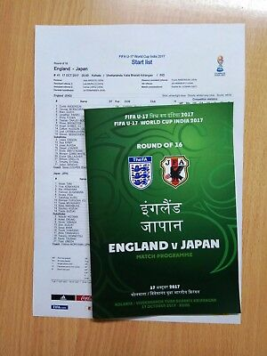 ENGLAND v JAPAN 17 October 2017 WC U17 GROUP from India FAN prg + OFFICIAL LU