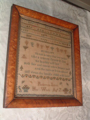 Unusual ANTIQUE SAMPLER 1783 REBECCA JAMES age 7. CROWNS of BRITISH ROYAL FAMILY